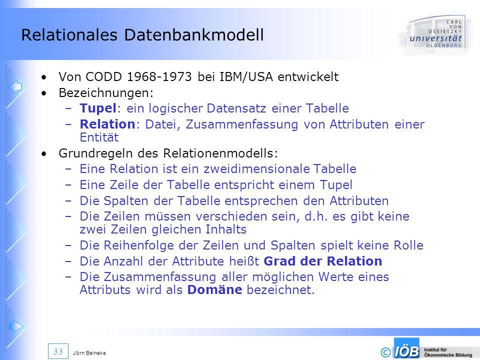 © Jörn Beineke 33 Relationales Datenbankmodell Von CODD 1968-1973 bei IBM/USA entwickelt Bezeichnungen: –Tupel: ein logischer Datensatz einer Tabelle