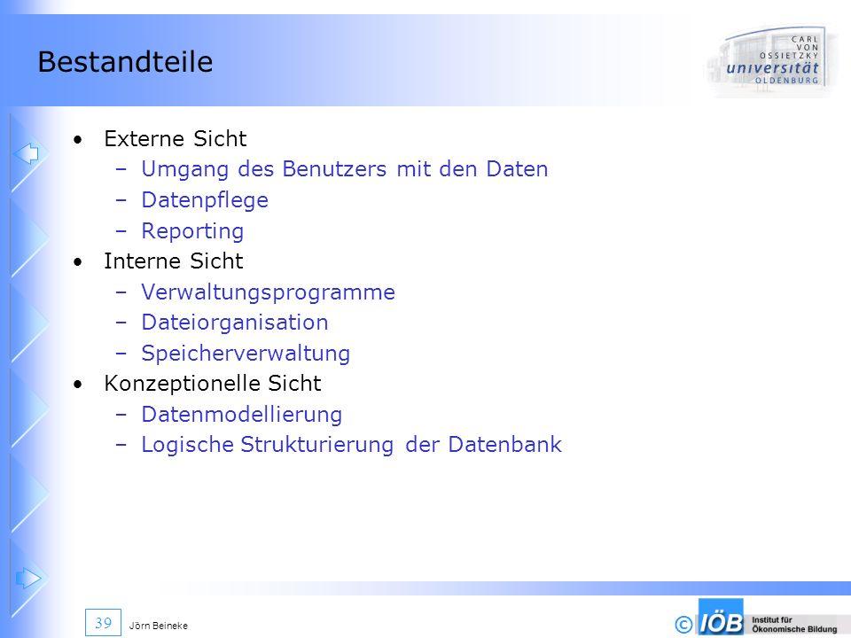 © Jörn Beineke 39 Bestandteile Externe Sicht –Umgang des Benutzers mit den Daten –Datenpflege –Reporting Interne Sicht –Verwaltungsprogramme –Dateiorg