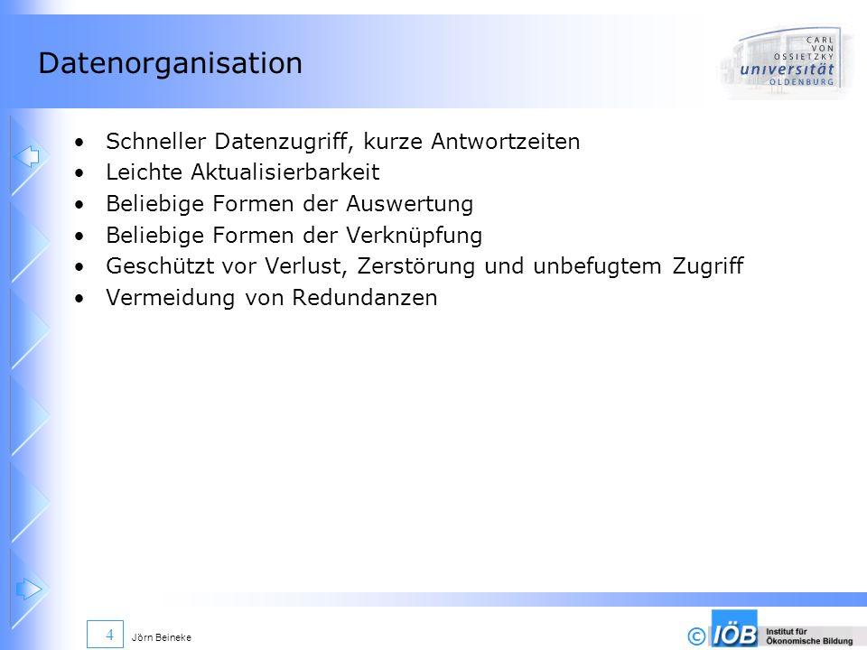© Jörn Beineke 35 Normalisierung Schlüssel: Mieternummer MNR, Wagennummer WNR Relationen: (MNR, MNA, BR), (MNR, WNR, FT, BJ, VS, MS, MD) Primärschlüssel (MNR, WNR) 1.