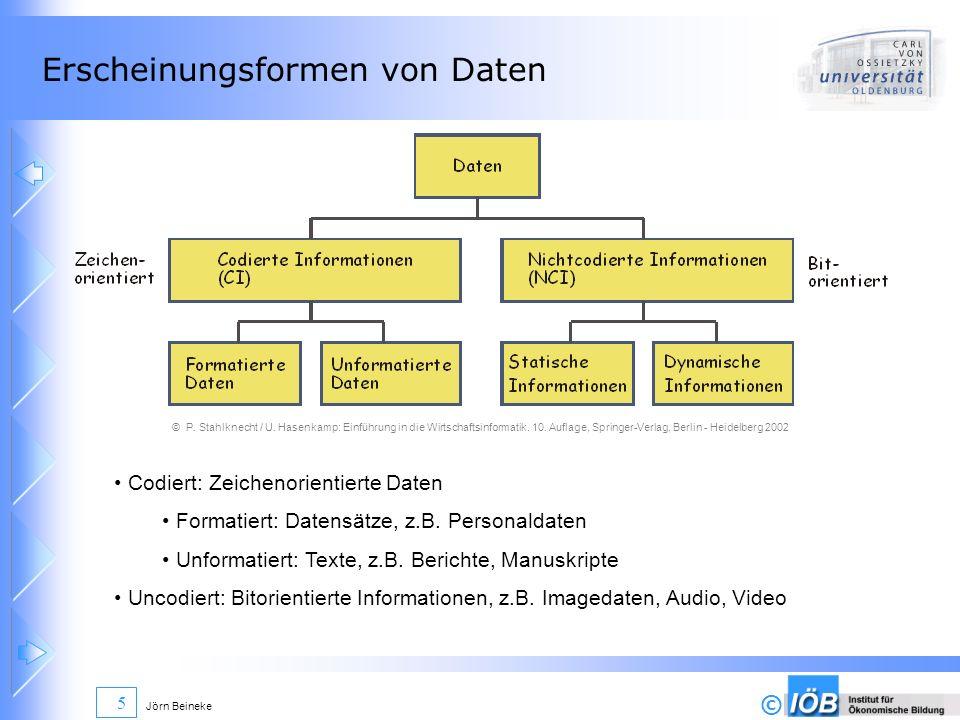© Jörn Beineke 5 Erscheinungsformen von Daten © P. Stahlknecht / U. Hasenkamp: Einführung in die Wirtschaftsinformatik. 10. Auflage, Springer-Verlag,