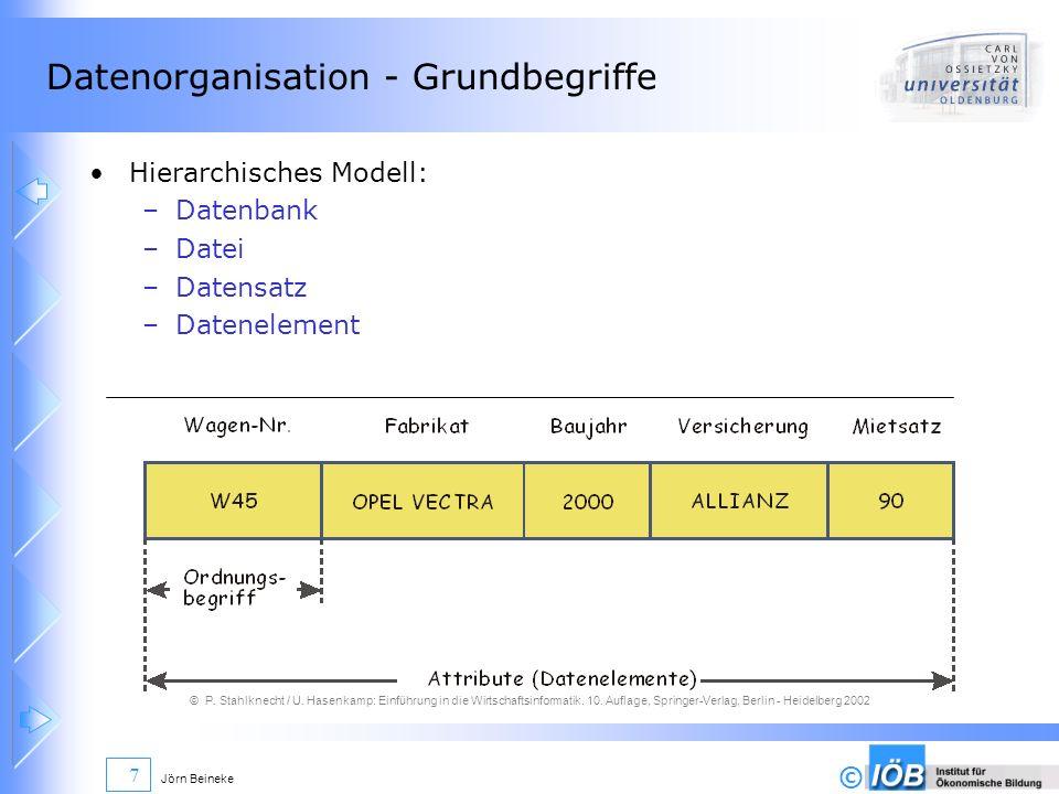 © Jörn Beineke 7 Datenorganisation - Grundbegriffe Hierarchisches Modell: –Datenbank –Datei –Datensatz –Datenelement © P. Stahlknecht / U. Hasenkamp: