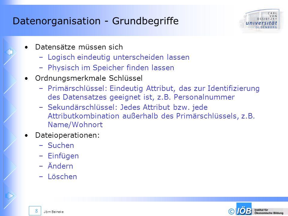 © Jörn Beineke 8 Datenorganisation - Grundbegriffe Datensätze müssen sich –Logisch eindeutig unterscheiden lassen –Physisch im Speicher finden lassen
