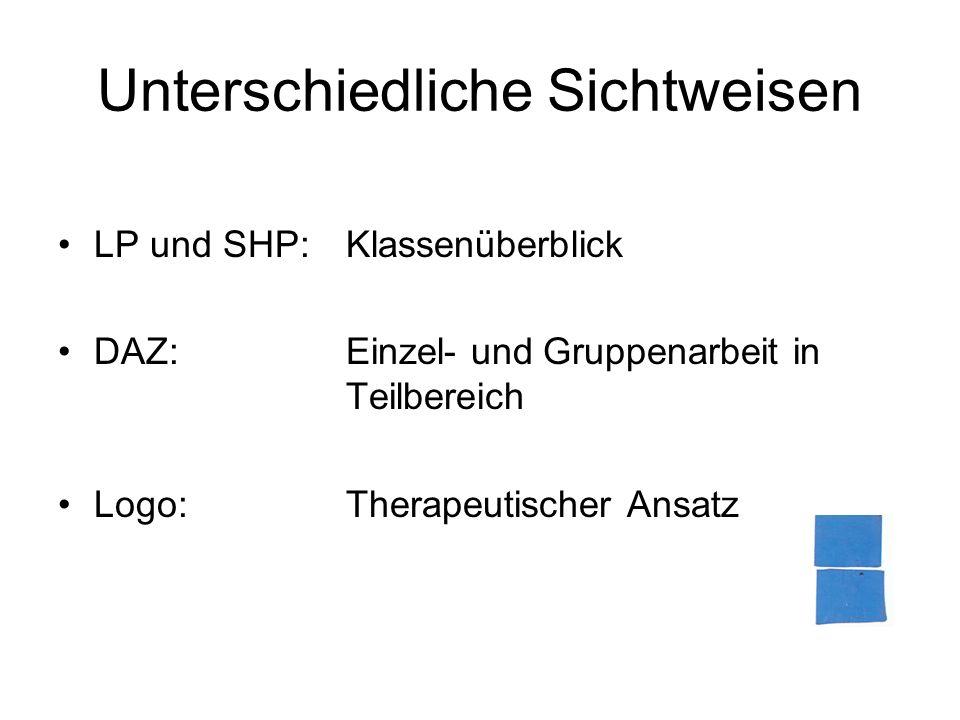 Unterschiedliche Sichtweisen LP und SHP: Klassenüberblick DAZ:Einzel- und Gruppenarbeit in Teilbereich Logo: Therapeutischer Ansatz