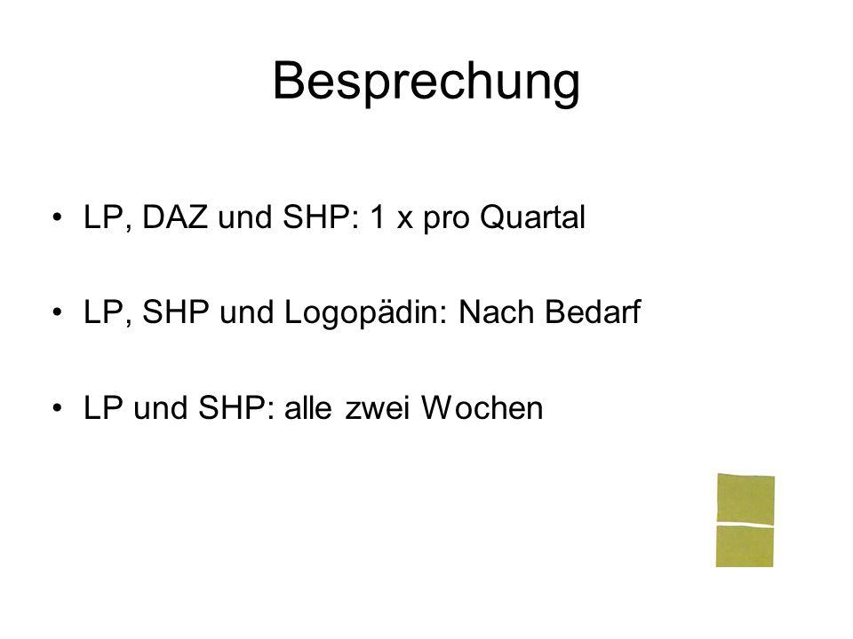 Besprechung LP, DAZ und SHP: 1 x pro Quartal LP, SHP und Logopädin: Nach Bedarf LP und SHP: alle zwei Wochen