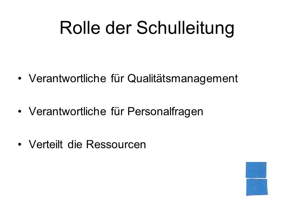 Rolle der Schulleitung Verantwortliche für Qualitätsmanagement Verantwortliche für Personalfragen Verteilt die Ressourcen