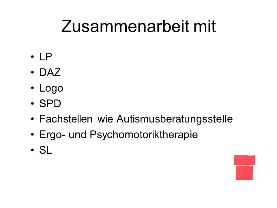 Zusammenarbeit mit LP DAZ Logo SPD Fachstellen wie Autismusberatungsstelle Ergo- und Psychomotoriktherapie SL