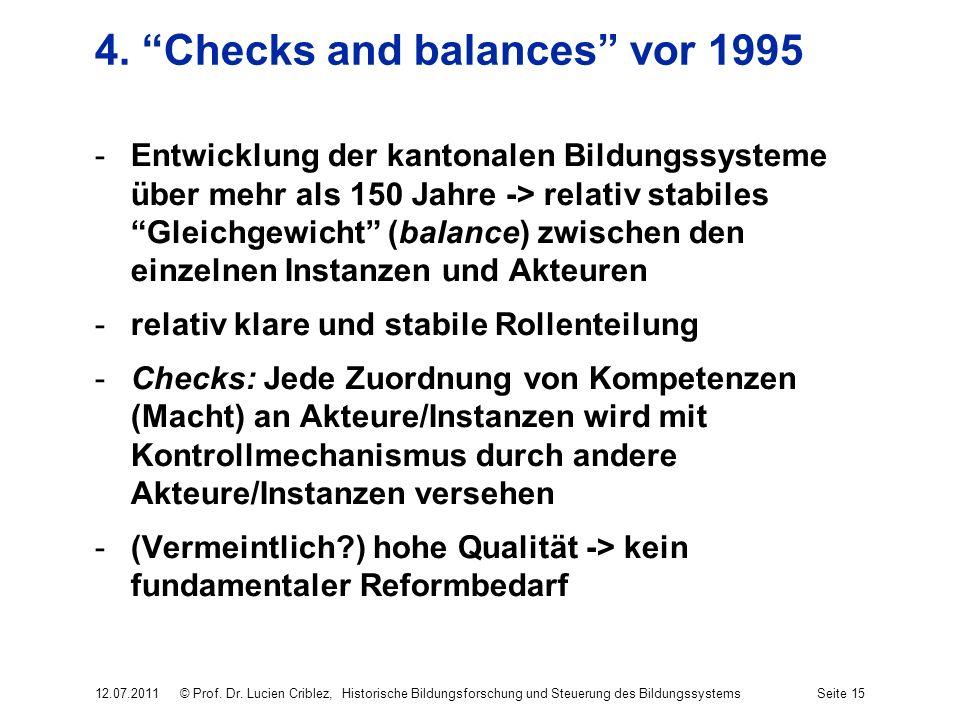 4. Checks and balances vor 1995 -Entwicklung der kantonalen Bildungssysteme über mehr als 150 Jahre -> relativ stabiles Gleichgewicht (balance) zwisch
