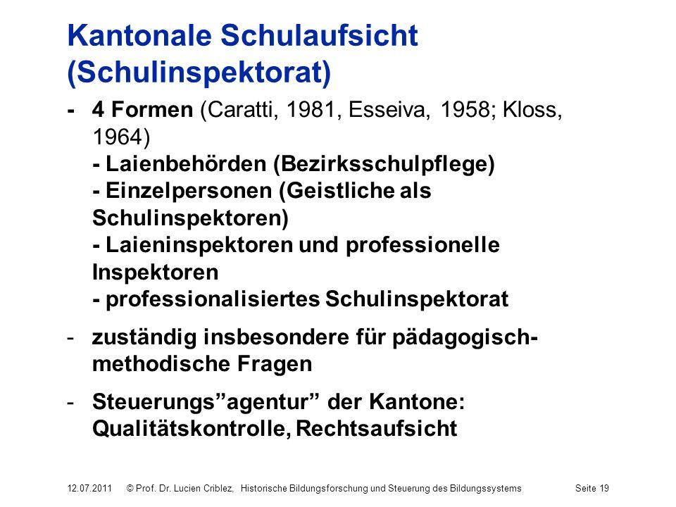 Kantonale Schulaufsicht (Schulinspektorat) -4 Formen (Caratti, 1981, Esseiva, 1958; Kloss, 1964) - Laienbehörden (Bezirksschulpflege) - Einzelpersonen (Geistliche als Schulinspektoren) - Laieninspektoren und professionelle Inspektoren - professionalisiertes Schulinspektorat -zuständig insbesondere für pädagogisch- methodische Fragen -Steuerungsagentur der Kantone: Qualitätskontrolle, Rechtsaufsicht 12.07.2011© Prof.