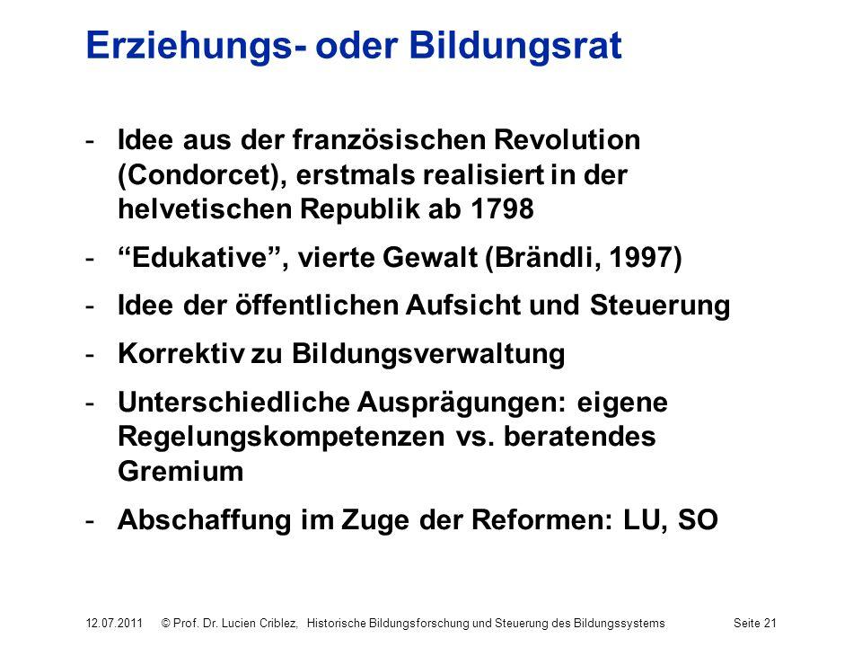 Erziehungs- oder Bildungsrat -Idee aus der französischen Revolution (Condorcet), erstmals realisiert in der helvetischen Republik ab 1798 -Edukative,