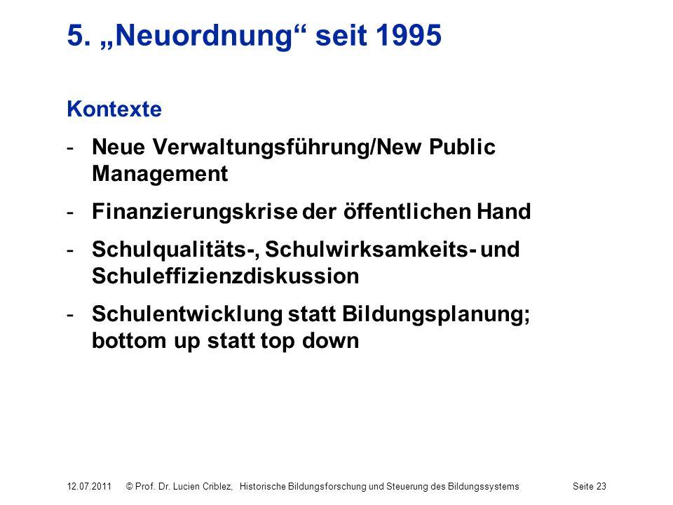 5. Neuordnung seit 1995 Kontexte -Neue Verwaltungsführung/New Public Management -Finanzierungskrise der öffentlichen Hand -Schulqualitäts-, Schulwirks