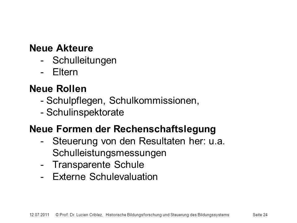 Neue Akteure -Schulleitungen -Eltern Neue Rollen - Schulpflegen, Schulkommissionen, - Schulinspektorate Neue Formen der Rechenschaftslegung -Steuerung von den Resultaten her: u.a.
