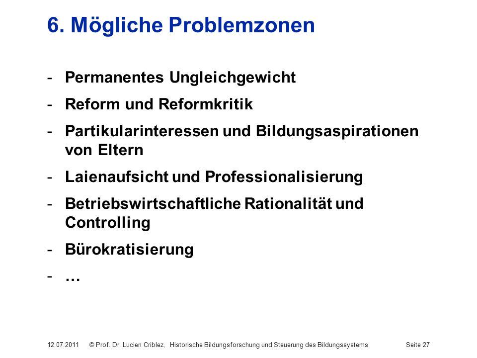6. Mögliche Problemzonen -Permanentes Ungleichgewicht -Reform und Reformkritik -Partikularinteressen und Bildungsaspirationen von Eltern -Laienaufsich