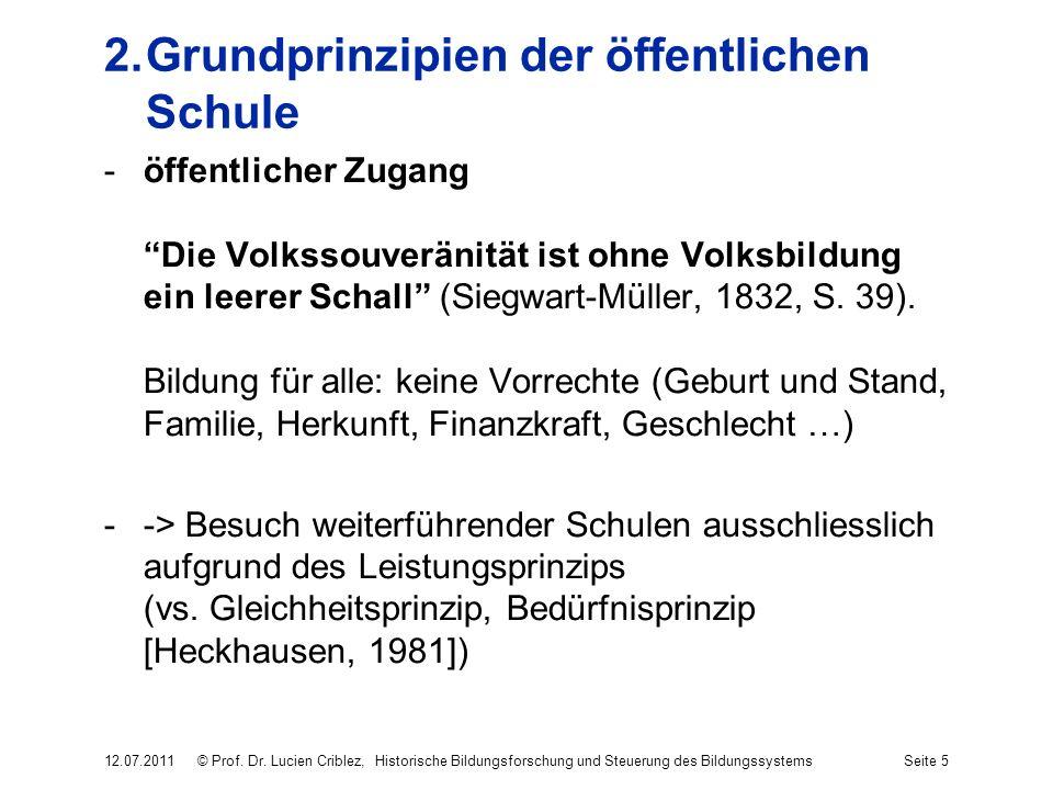 2.Grundprinzipien der öffentlichen Schule -öffentlicher Zugang Die Volkssouveränität ist ohne Volksbildung ein leerer Schall (Siegwart-Müller, 1832, S.