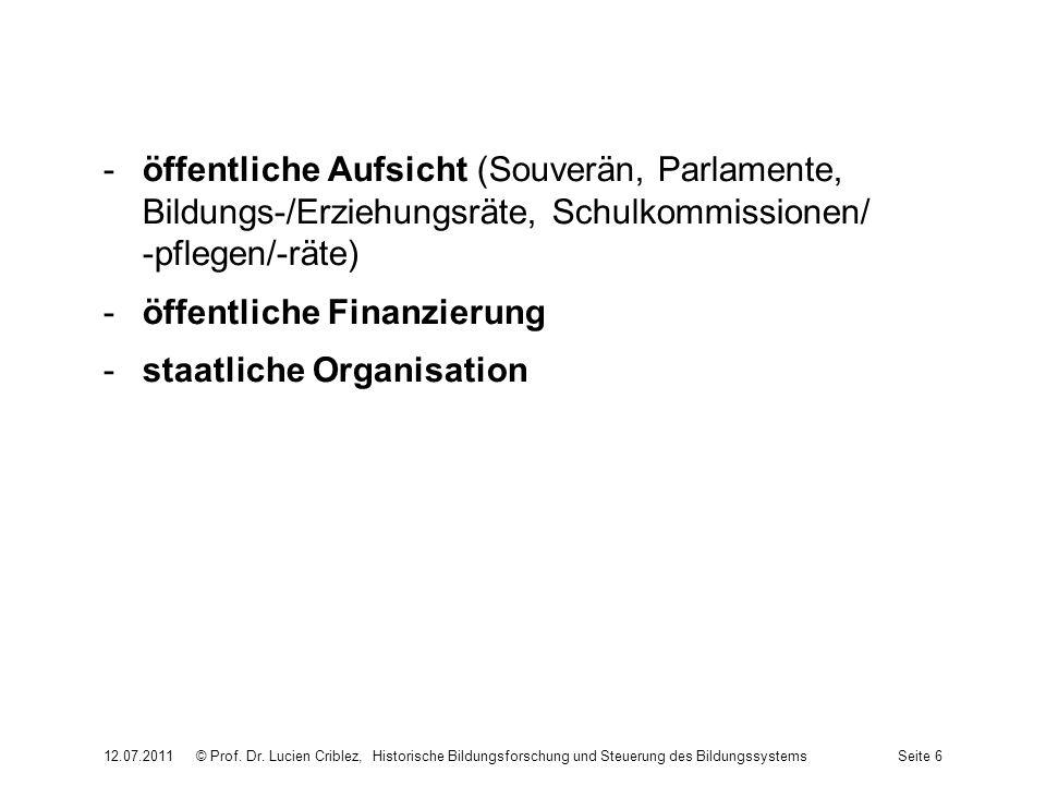 -öffentliche Aufsicht (Souverän, Parlamente, Bildungs-/Erziehungsräte, Schulkommissionen/ -pflegen/-räte) -öffentliche Finanzierung -staatliche Organi