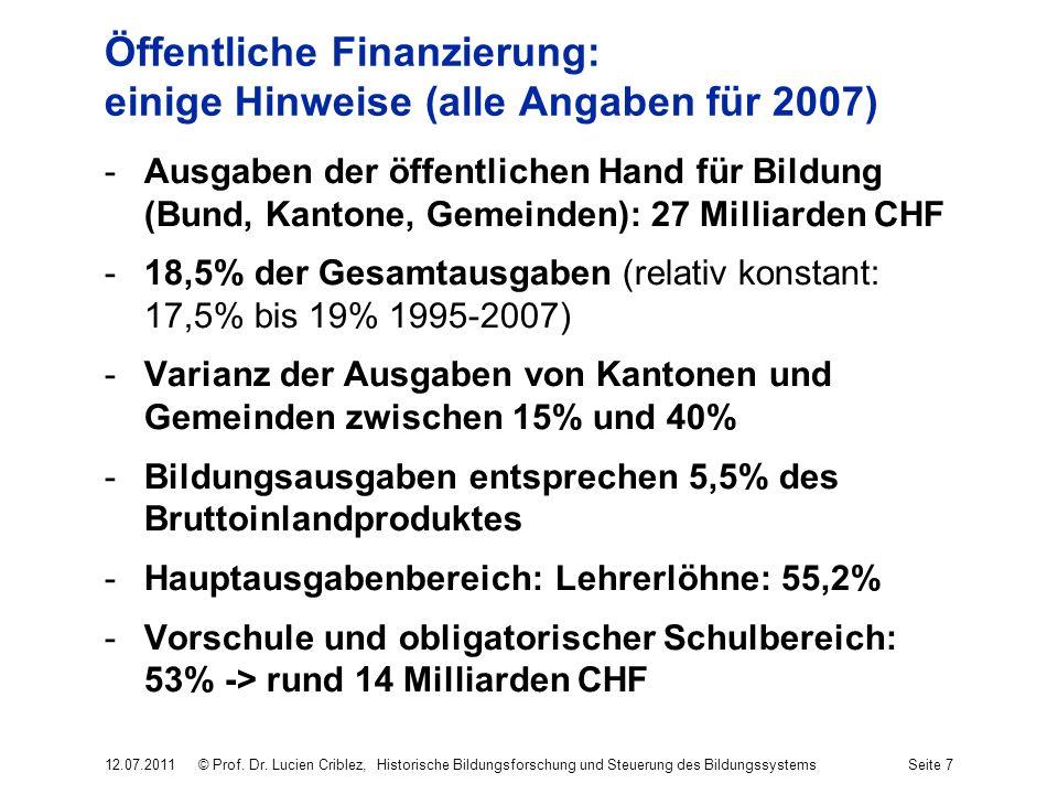 Öffentliche Finanzierung: einige Hinweise (alle Angaben für 2007) -Ausgaben der öffentlichen Hand für Bildung (Bund, Kantone, Gemeinden): 27 Milliarde