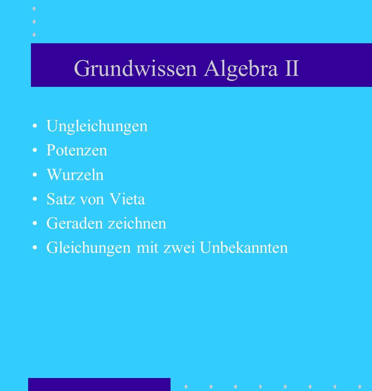Grundwissen Algebra II Ungleichungen Potenzen Wurzeln Satz von Vieta Geraden zeichnen Gleichungen mit zwei Unbekannten