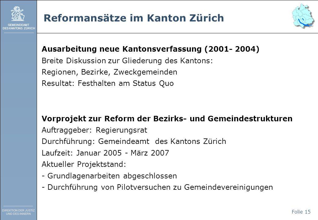 GEMEINDEAMT DES KANTONS ZÜRICH DIREKTION DER JUSTIZ UND DES INNERN Folie 15 Reformansätze im Kanton Zürich Ausarbeitung neue Kantonsverfassung (2001-