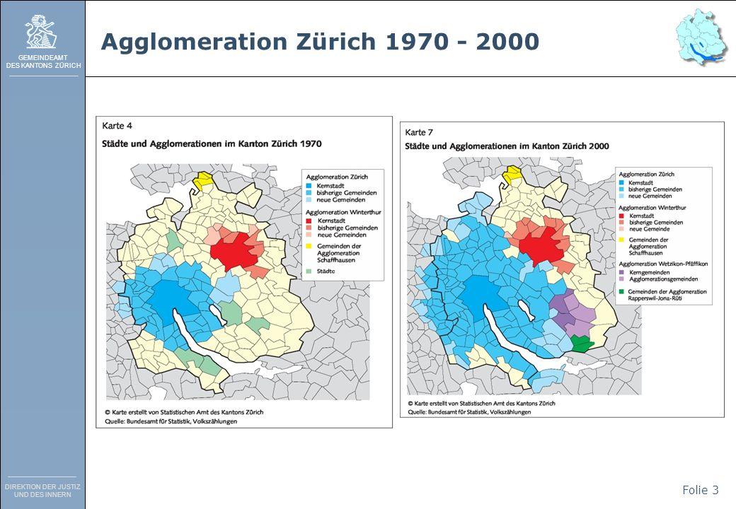 GEMEINDEAMT DES KANTONS ZÜRICH DIREKTION DER JUSTIZ UND DES INNERN Folie 4 Gemeindegrössen im Kanton Zürich Durchschnittliche Gemeindegrösse Kanton Zürich: 3080 (Median) Durchschnittliche Gemeindegrösse Schweiz: 882 (Median) Einwohner zahl Anzahl Gemeinden Anzahl Gemeinden % Anzahl Einwohner Anzahl Einwohner % 1 - 49974.1 %27300.2 % 500 - 9992715.8 %197231.6 % 1000 - 19993118.1 %455873.8% Summe 1 - 1999 6538%680405.6 %