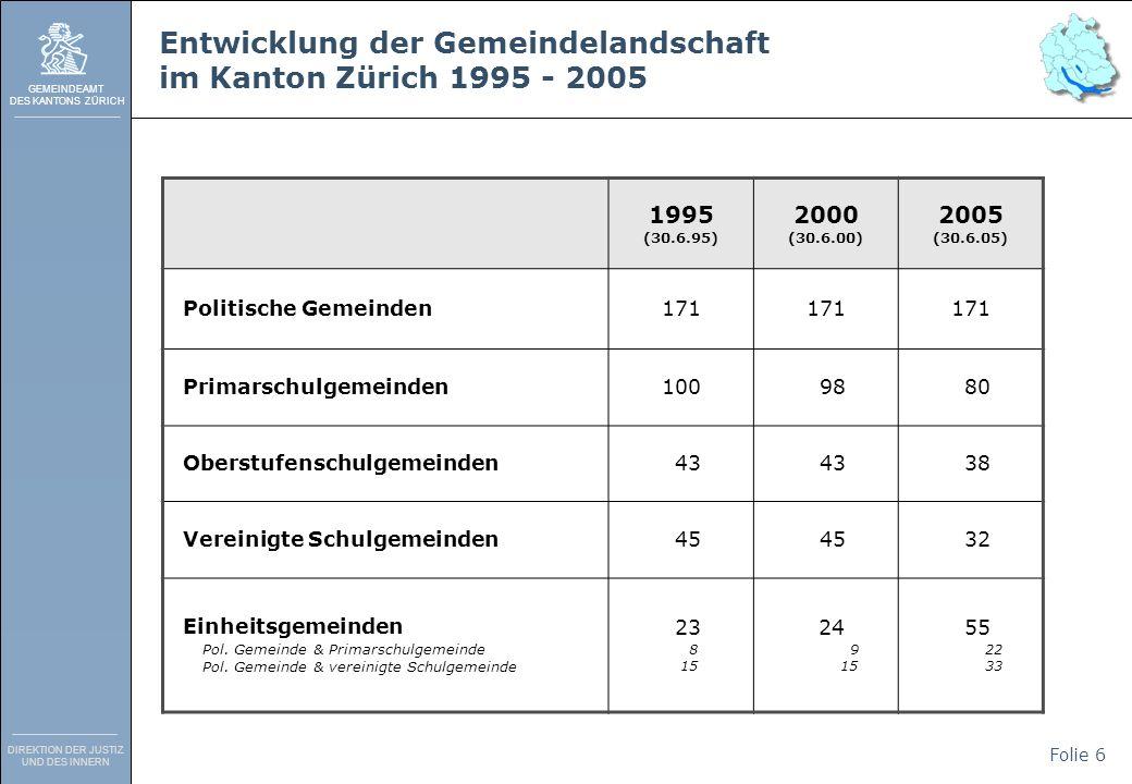 GEMEINDEAMT DES KANTONS ZÜRICH DIREKTION DER JUSTIZ UND DES INNERN Folie 6 Entwicklung der Gemeindelandschaft im Kanton Zürich 1995 - 2005 1995 (30.6.