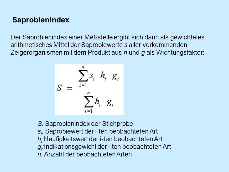 S: Saprobienindex der Stichprobe s i : Saprobiewert der i-ten beobachteten Art h i :Häufigkeitswert der i-ten beobachteten Art g i :Indikationsgewicht