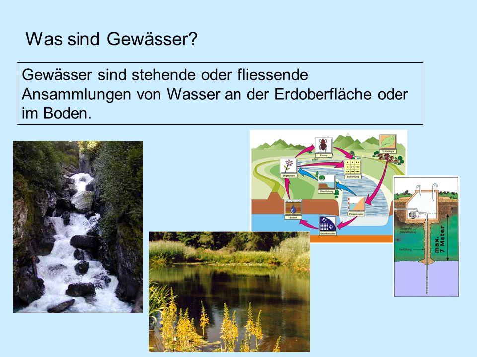 Was sind Gewässer? Gewässer sind stehende oder fliessende Ansammlungen von Wasser an der Erdoberfläche oder im Boden.