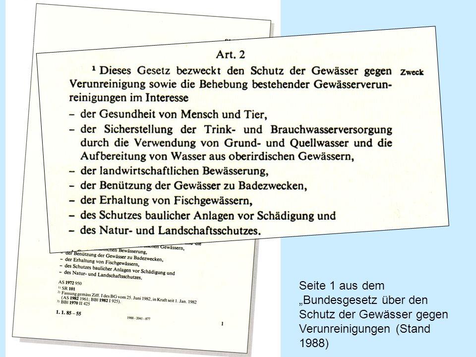 Seite 1 aus dem Bundesgesetz über den Schutz der Gewässer gegen Verunreinigungen (Stand 1988)