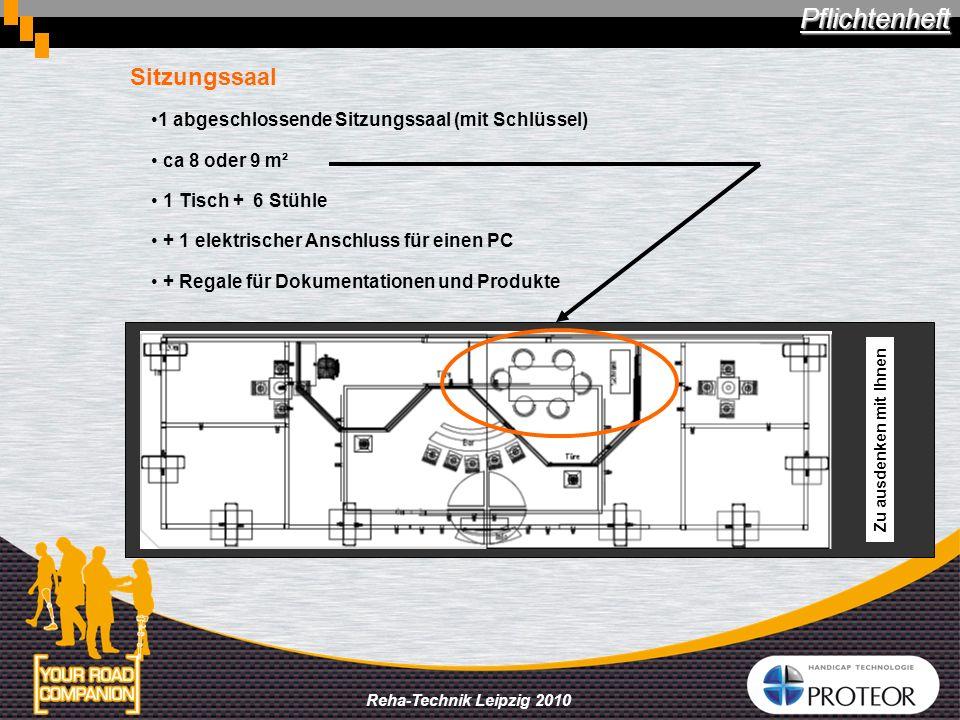 Reha-Technik Leipzig 2010 Sitzungssaal 1 abgeschlossende Sitzungssaal (mit Schlüssel) ca 8 oder 9 m² 1 Tisch + 6 Stühle + 1 elektrischer Anschluss für