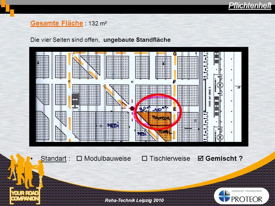 Reha-Technik Leipzig 2010 Gesamte Fläche : 132 m² Die vier Seiten sind offen, ungebaute Standfläche Standart : Modulbauweise Tischlerweise Gemischt ?