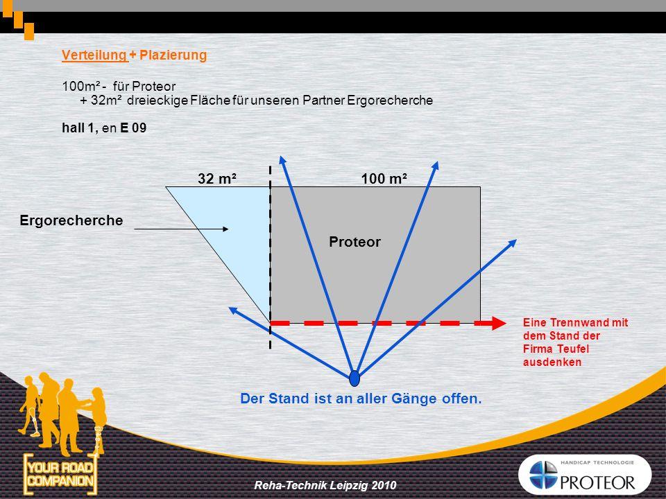Reha-Technik Leipzig 2010 Verteilung + Plazierung 100m² - für Proteor + 32m² dreieckige Fläche für unseren Partner Ergorecherche hall 1, en E 09 Proteor Ergorecherche 100 m²32 m² Eine Trennwand mit dem Stand der Firma Teufel ausdenken Der Stand ist an aller Gänge offen.