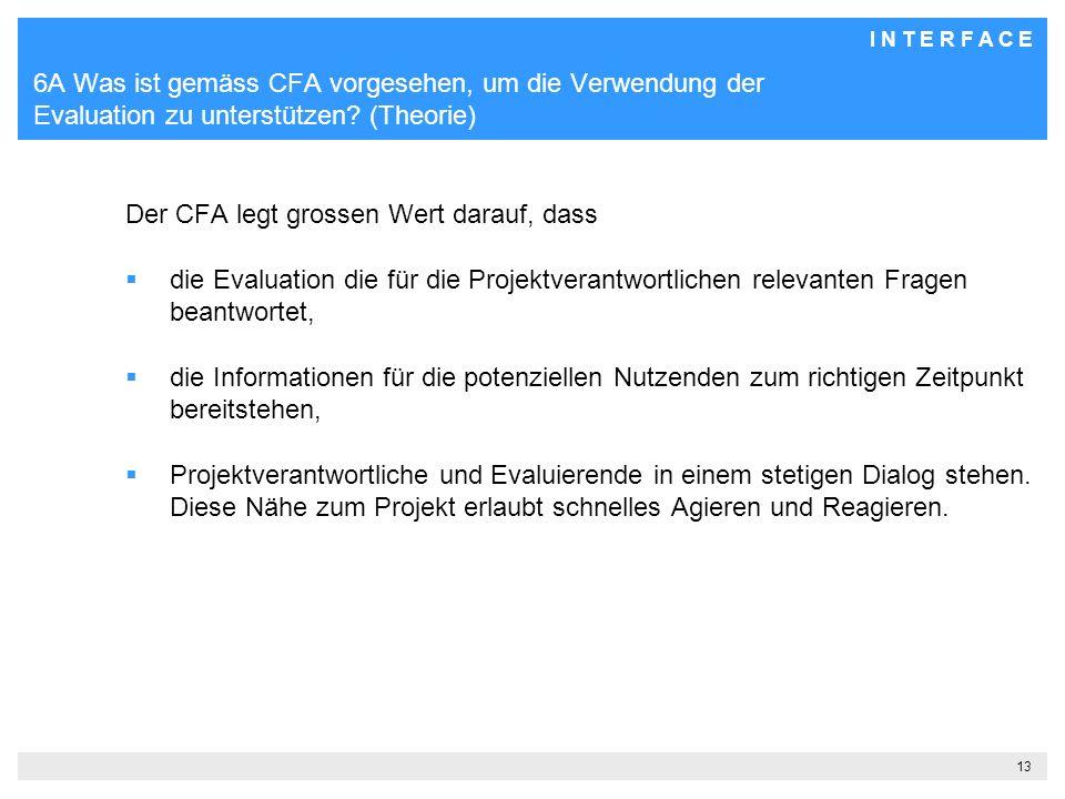 I N T E R F A C E 13 6A Was ist gemäss CFA vorgesehen, um die Verwendung der Evaluation zu unterstützen.