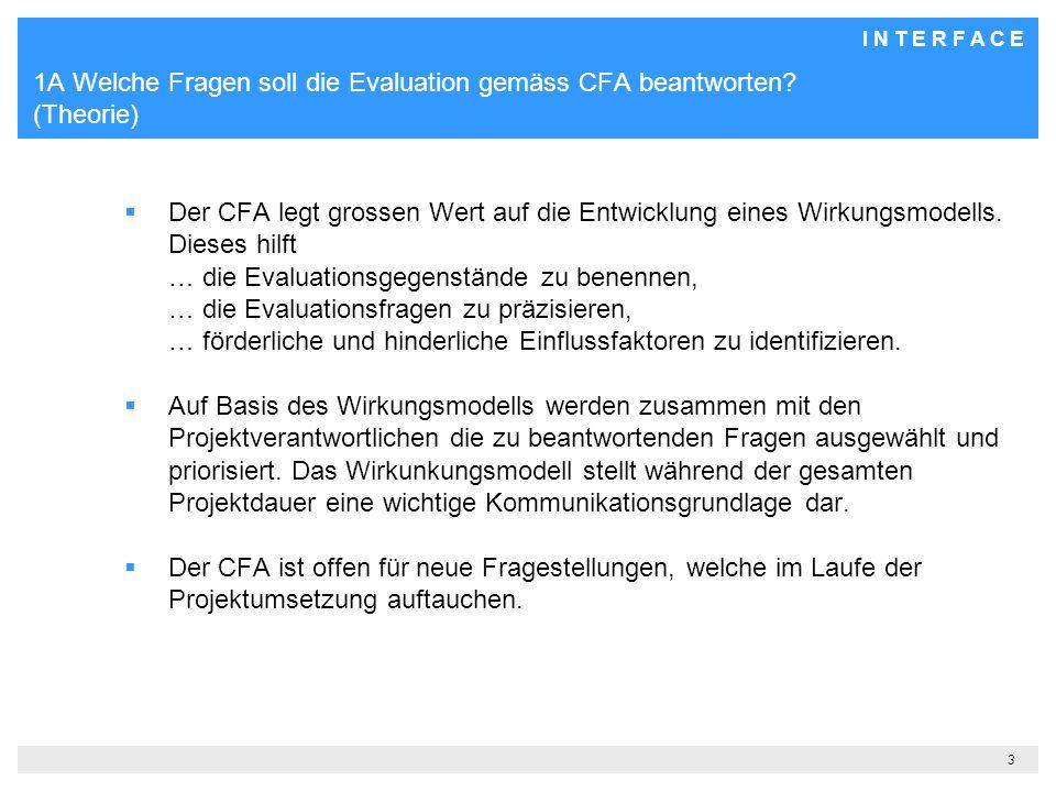 I N T E R F A C E 3 1A Welche Fragen soll die Evaluation gemäss CFA beantworten.