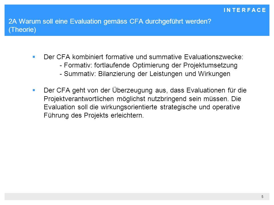 I N T E R F A C E 5 2A Warum soll eine Evaluation gemäss CFA durchgeführt werden.