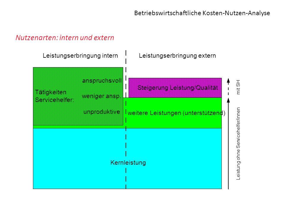 Betriebswirtschaftliche Kosten-Nutzen-Analyse Nutzenarten: intern und extern weitere Leistungen (unterstützend) Tätigkeiten Servicehelfer: anspruchsvo
