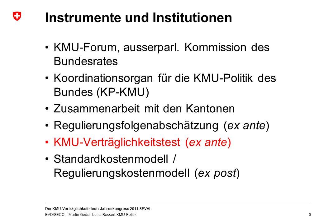 Der KMU-Verträglichkeitstest / Jahreskongress 2011 SEVAL EVD/SECO – Martin Godel, Leiter Ressort KMU-Politik 3 Instrumente und Institutionen KMU-Forum, ausserparl.