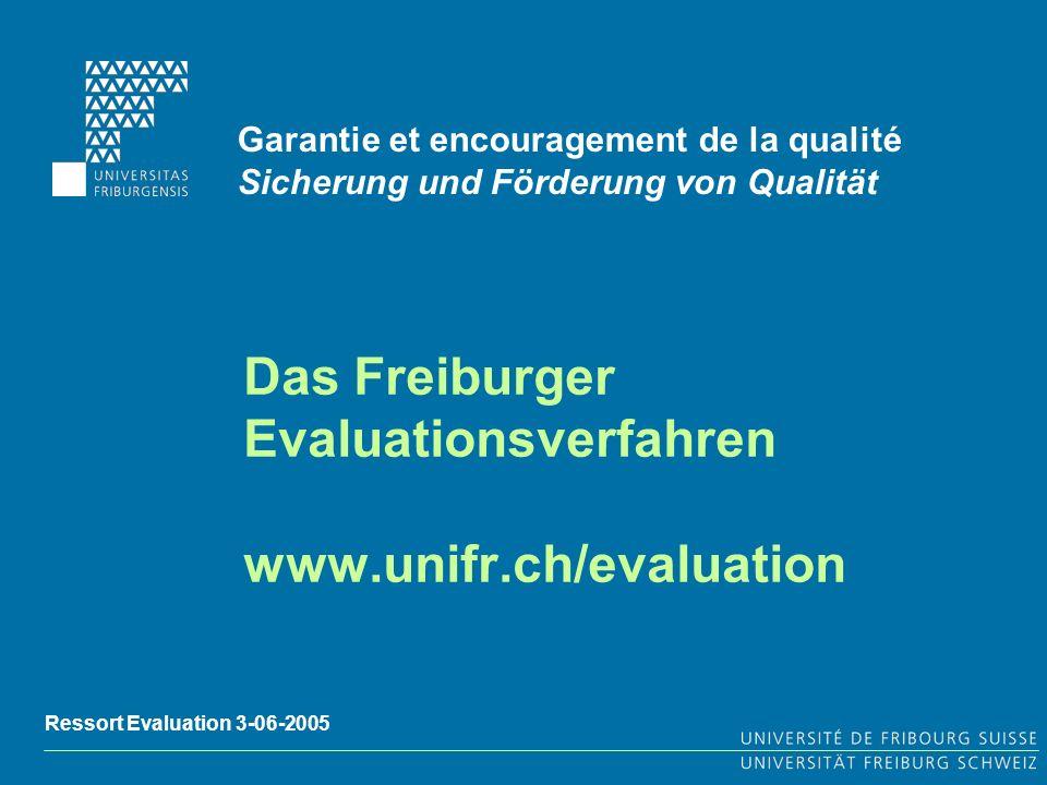 Das Freiburger Evaluationsverfahren www.unifr.ch/evaluation Garantie et encouragement de la qualité Sicherung und Förderung von Qualität Ressort Evaluation 3-06-2005