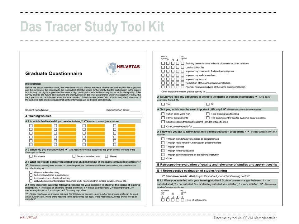 Tracer study tool kit - SEVAL Methodenatelier HELVETAS Das Tracer Study Tool Kit