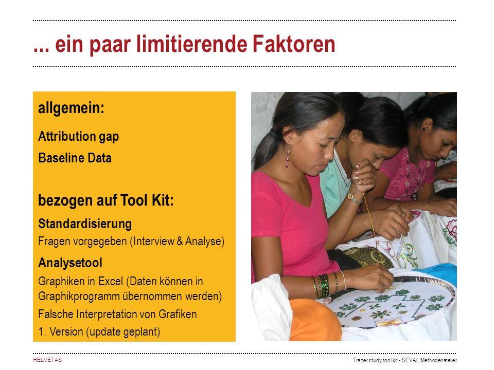 Tracer study tool kit - SEVAL Methodenatelier HELVETAS... ein paar limitierende Faktoren allgemein: Attribution gap Baseline Data bezogen auf Tool Kit