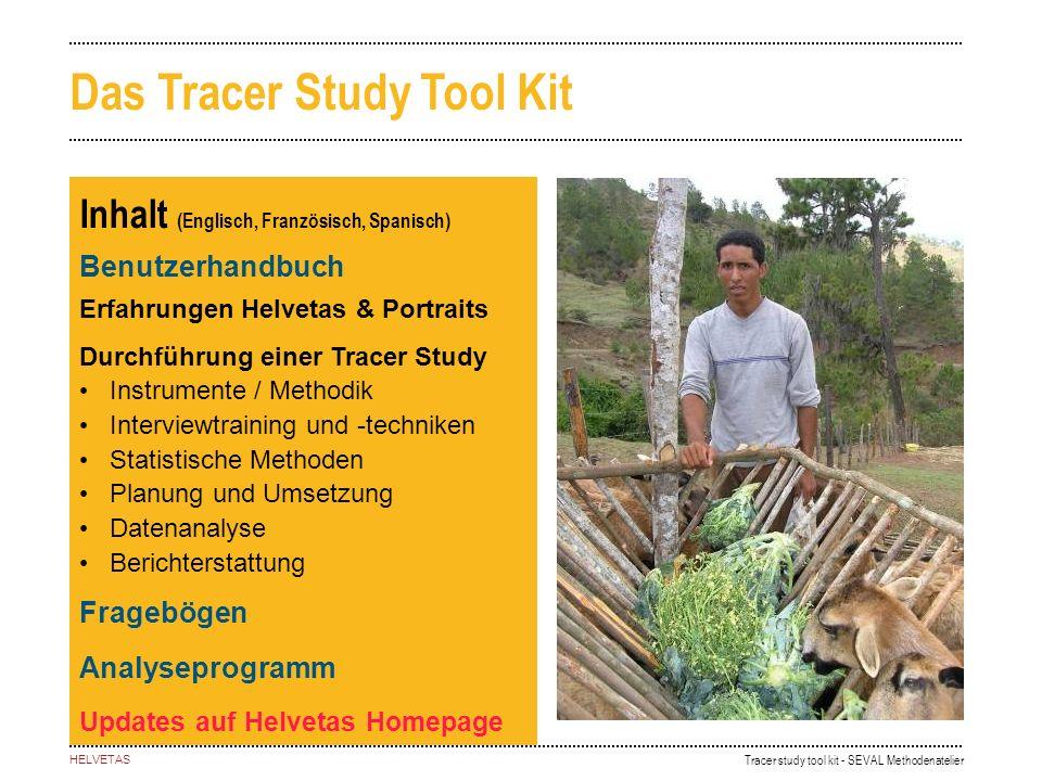 Tracer study tool kit - SEVAL Methodenatelier HELVETAS Inhalt (Englisch, Französisch, Spanisch) Benutzerhandbuch Erfahrungen Helvetas & Portraits Durc