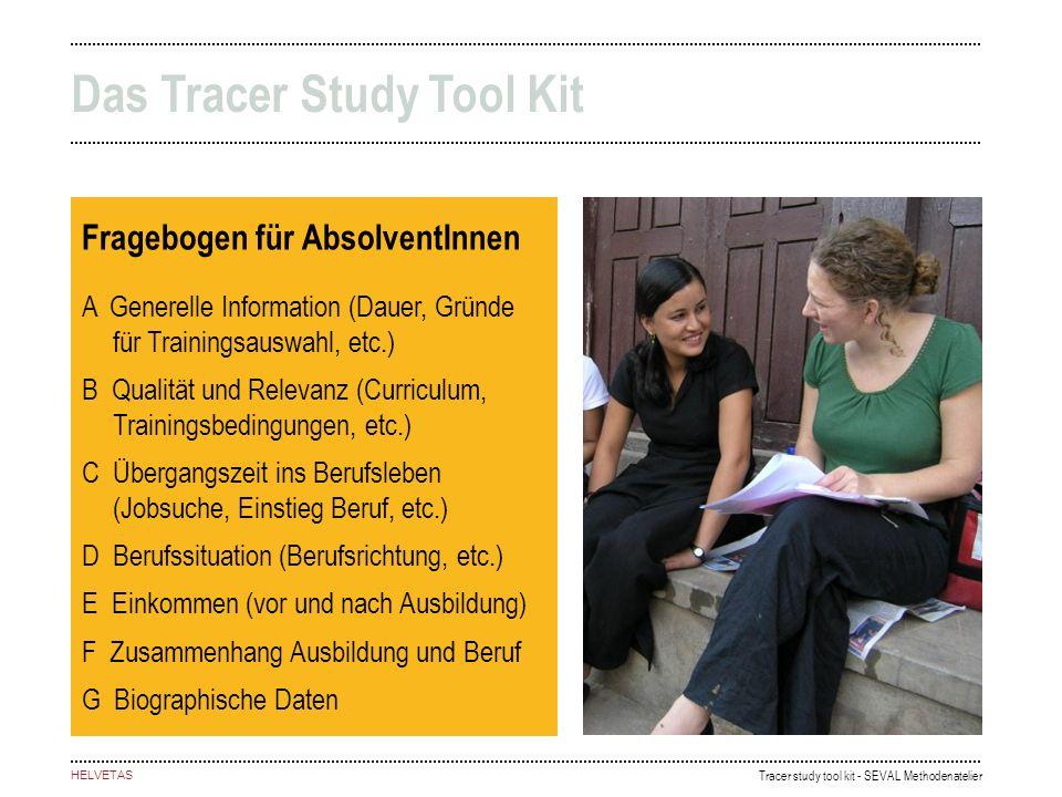 Tracer study tool kit - SEVAL Methodenatelier HELVETAS Fragebogen für AbsolventInnen A Generelle Information (Dauer, Gründe für Trainingsauswahl, etc.