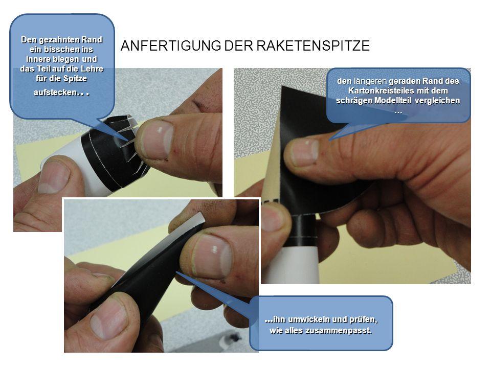 ANFERTIGUNG DER RAKETENSPITZE den Kleber auf den geraden Rand der Kartoninnenseite auftragen … Mit dem Bleistift die Fläche des Kleberauftrags anzeichnen...