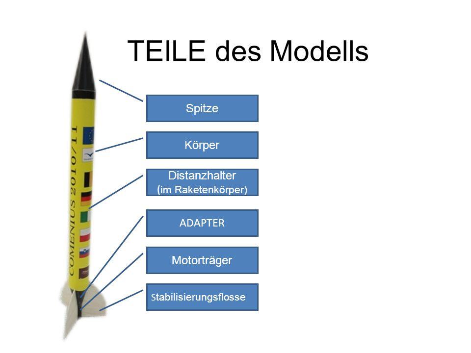 TEILE des Modells Spitze Körper ADAPTER Motorträger S tabilisierungsflosse Distanzhalter ( im Raketenkörper)