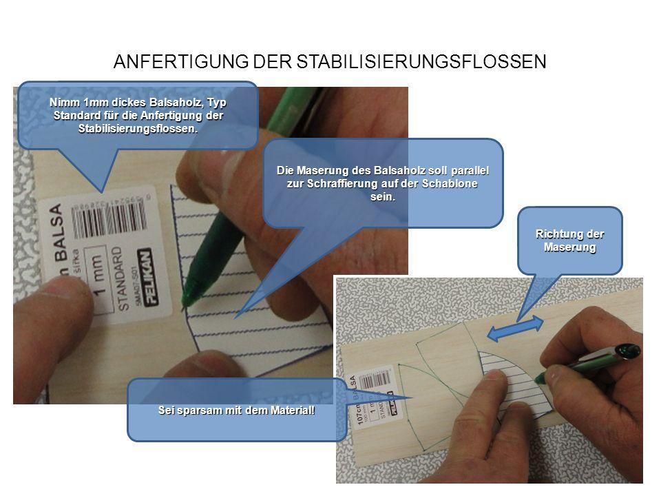 ANFERTIGUNG DER STABILISIERUNGSFLOSSEN Nimm 1mm dickes Balsaholz, Typ Standardfür die Anfertigung der Stabilisierungsflossen. Nimm 1mm dickes Balsahol