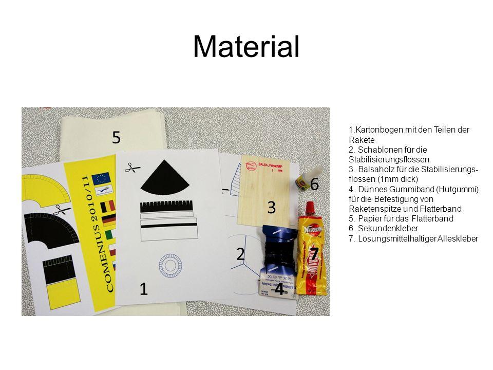 Material 1 2 3 4 5 6 7 1.Kartonbogen mit den Teilen der Rakete 2. Schablonen für die Stabilisierungsflossen 3. Balsaholz für die Stabilisierungs- flos