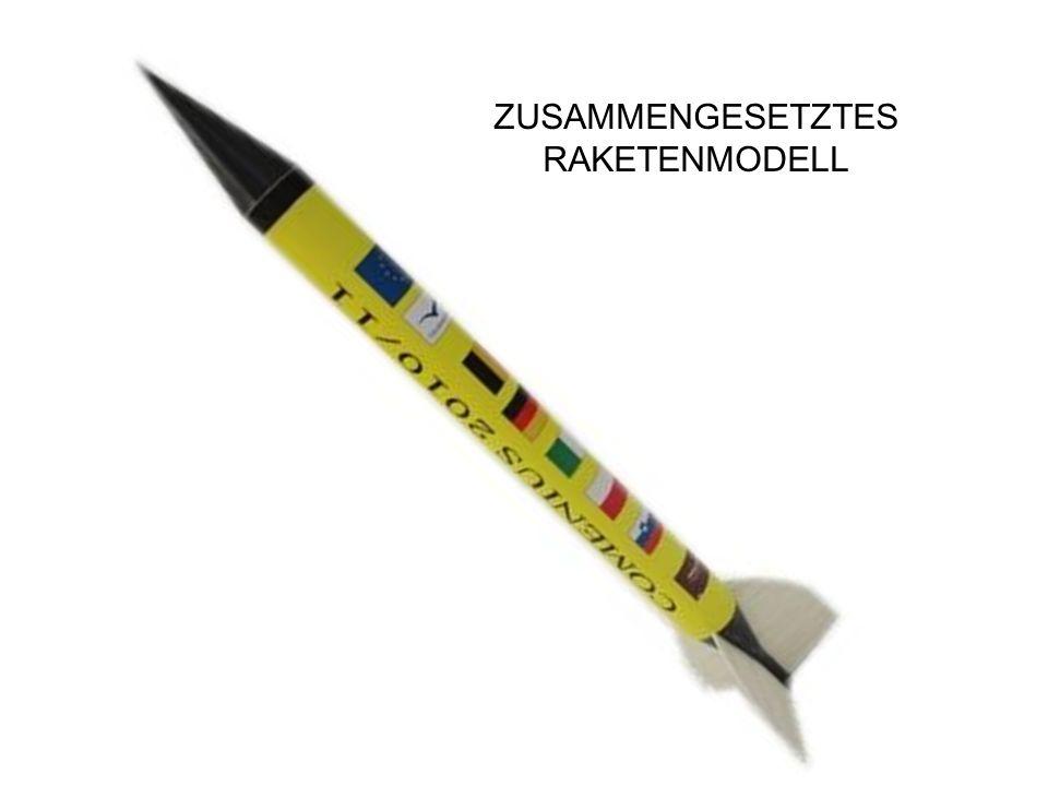 VERBINDUNG DES RAKETENKÖRPERS MIT DER SPITZE Für die Verbindung des Raketenkörpers mit der Spitze verwendet man dünnes Gummiband.