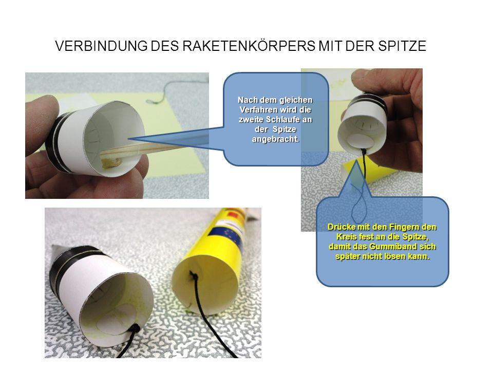 VERBINDUNG DES RAKETENKÖRPERS MIT DER SPITZE Nach dem gleichen Verfahren wird die zweite Schlaufe an der Spitze angebracht. Drücke mit den Fingern den