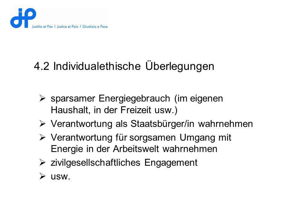 4.2 Individualethische Überlegungen sparsamer Energiegebrauch (im eigenen Haushalt, in der Freizeit usw.) Verantwortung als Staatsbürger/in wahrnehmen
