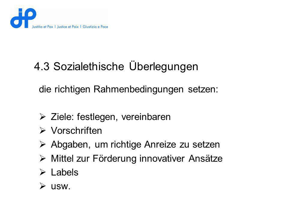 4.3 Sozialethische Überlegungen die richtigen Rahmenbedingungen setzen: Ziele: festlegen, vereinbaren Vorschriften Abgaben, um richtige Anreize zu set
