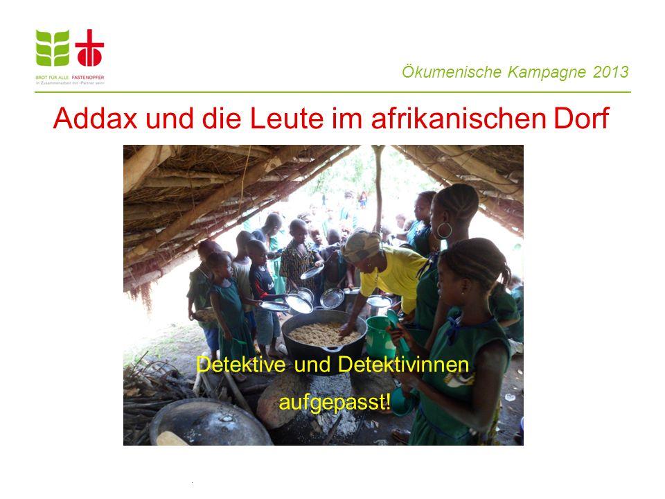 Ökumenische Kampagne 2013 Detektive und Detektivinnen aufgepasst!. Addax und die Leute im afrikanischen Dorf