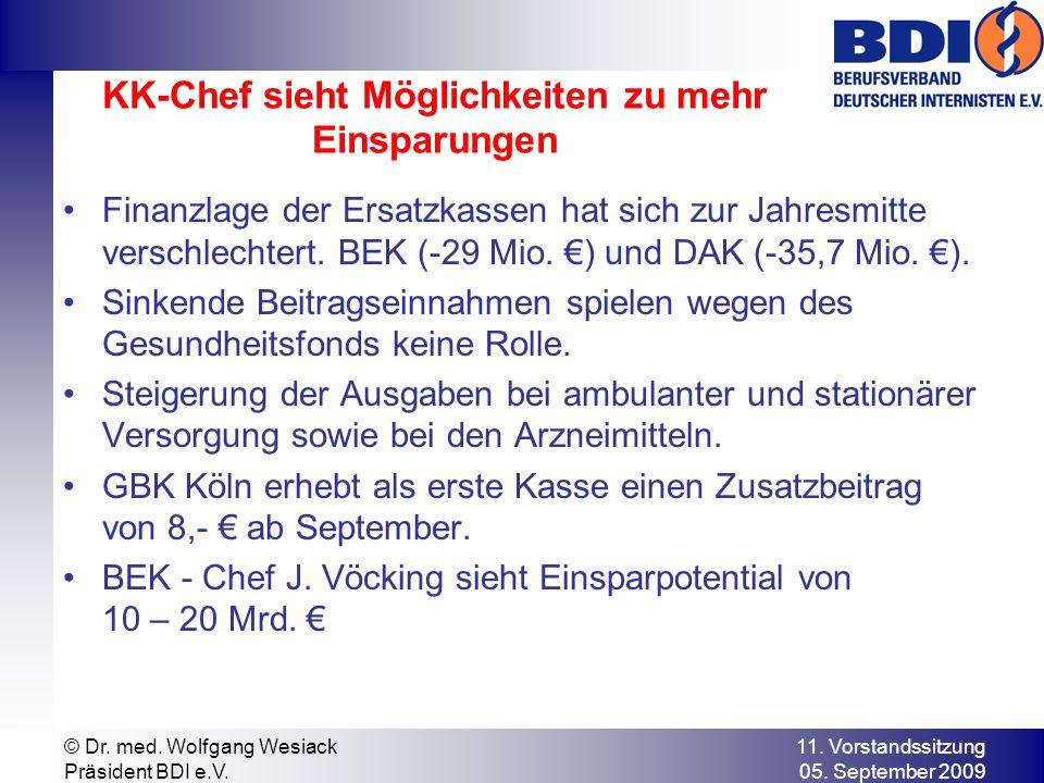 11. Vorstandssitzung 05. September 2009 © Dr. med. Wolfgang Wesiack Präsident BDI e.V. KK-Chef sieht Möglichkeiten zu mehr Einsparungen Finanzlage der