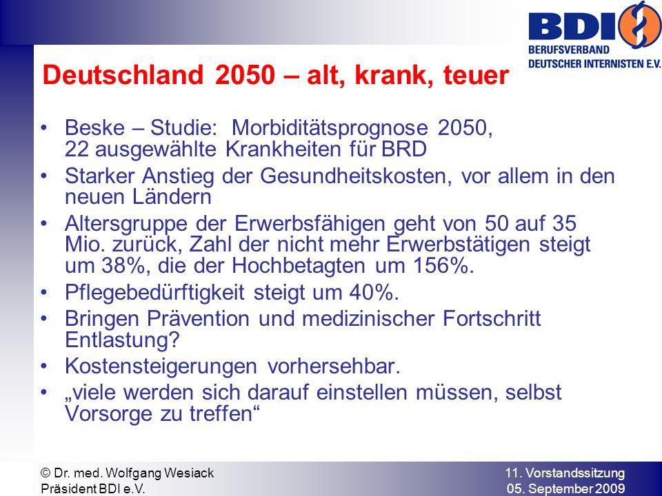 11. Vorstandssitzung 05. September 2009 © Dr. med. Wolfgang Wesiack Präsident BDI e.V. Deutschland 2050 – alt, krank, teuer Beske – Studie: Morbidität
